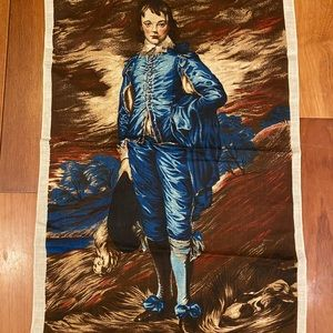 Vintage Irish Cabin Linen tea towel Blue boy '60s